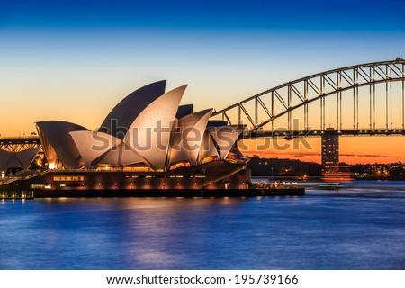 SYDNEY - MAY 16: Opera House on May 16, 14 in Sydney. It is Identified as one of the 20th century's most distinctive buildings and one of the most famous performing arts centres in the world. - stock photo