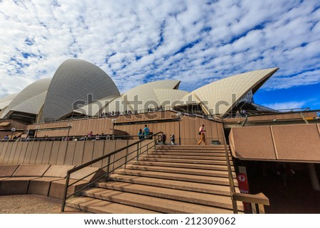 SYDNEY - MAY 10: Opera House on May 10, 14 in Sydney. It is Identified as one of the 20th century's most distinctive buildings and one of the most famous performing arts centres in the world.