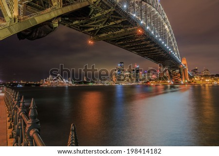 SYDNEY - MAY 10: Sydney Harbor Bridge on May 10, 2014 in Sydney. It is a steel arch bridge across Sydney Harbor that carries rail, vehicle and pedestrian traffic between the city and the North Shore.