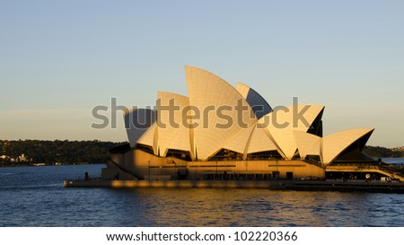 SYDNEY - MAY 4: Sydney Opera House view on May 4, 2012 in Sydney, Australia. The Sydney Opera House is a famous arts center. It was designed by Danish architect Jorn Utzon, opening in 1973. - stock photo
