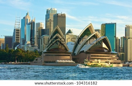 SYDNEY - MAY 4: Sydney Opera House view on May 4, 2011 in Sydney. The Sydney Opera House is a famous arts center. It was designed by Danish architect Jorn Utzon, opening in 1973. - stock photo