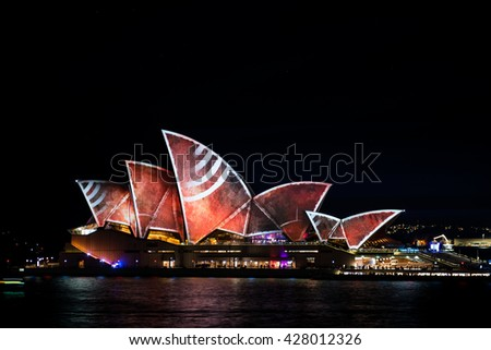 SYDNEY - May 27: The Sydney Opera House lit up during the Vivid Festival: A Festival of Light, Music & Ideas on May 27, 2016 in Sydney, Australia.
