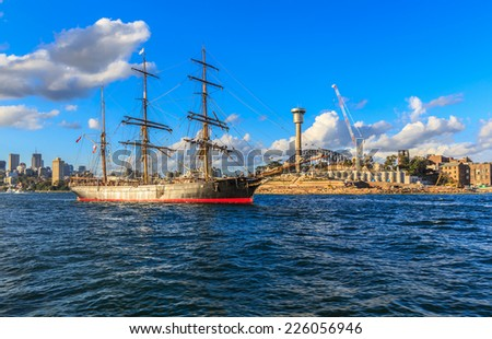 SYDNEY - MAY 10: Vintage windjammer on May 10, 2014 in Sydney.  It's a type of large sailing ship, with an iron or, for the most part, steel hull, built to carry cargo in the 19th century. - stock photo