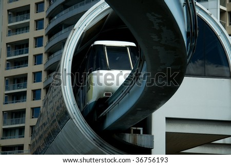 Sydney monorail in station - stock photo