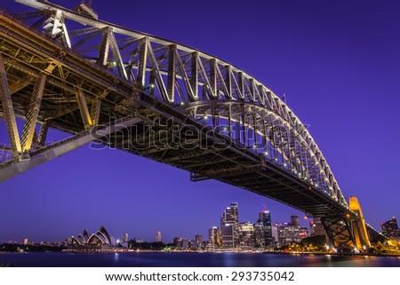 Sydney night cityscape, Australia. - stock photo