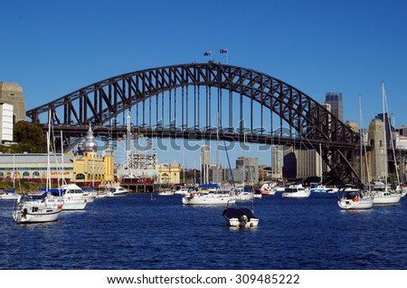 Sydney, NSW, Australia - July 27th, 2015. The Sydney Harbour Bridge, taken from Lavender Bay. Luna Park, yachts and also boats can be seen in the image.