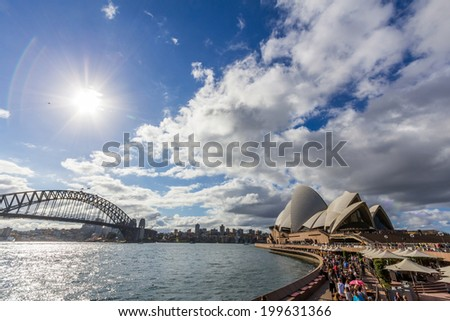 SYDNEY, NSW, AUSTRALIA - May 30, 2014: The Sydney Opera House is a multi-venue performing arts centre in Sydney, New South Wales, Australia. It became a UNESCO World Heritage Site on 28 June 2007. - stock photo