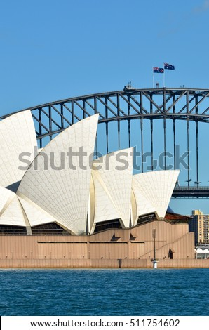 SYDNEY - OCT 19 2016:Sydney Harbour Bridge and Sydney Opera House skyline in Sydney, New South Wales, Australia.