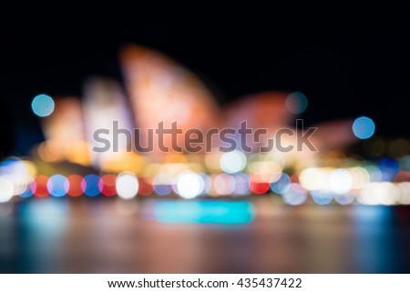 Sydney Opera House in the night illuminated during Vivid Sydney Festival. Vivid Sydney is an annual outdoor Festival of Light, Music & Ideas in Sydney, Australia - stock photo