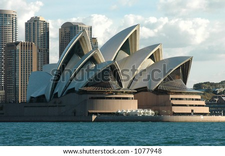 Sydney Opera House With City Behind