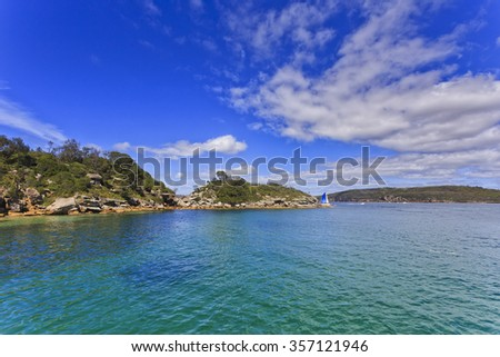 Sydney Quarantine station pristine seascape of surrounding hills and harbour water on a sunny summer day - stock photo