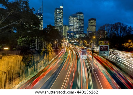 Sydney rush hour freeway traffic at dusk - stock photo