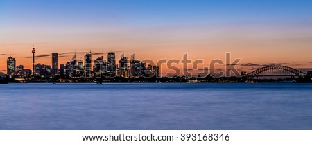 Sydney's skyline by dusk, shot from Vauclause in eastern Sydney. - stock photo