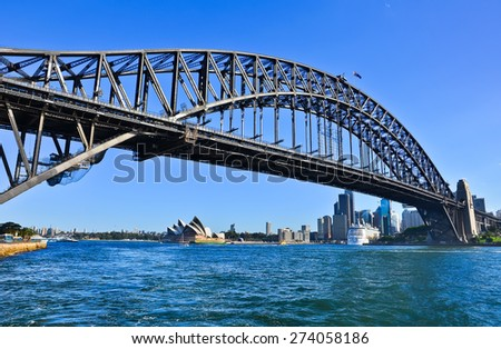 Sydney Skyline and Harbor Bridge - stock photo