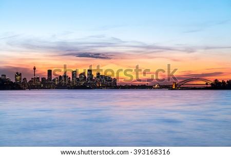 Sydney Skyline at dawn  viewed from the distance