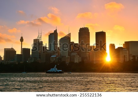 Sydney skyline at sunset - stock photo