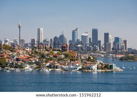 Sydney skyline from Watson's Bay in Sydney, Australia - stock photo
