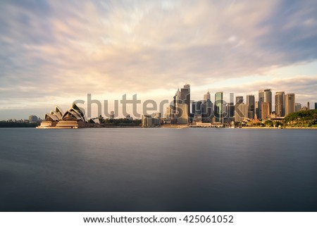 Sydney skyline panoramic view from Milson Point early morning,NSW, Australia - stock photo