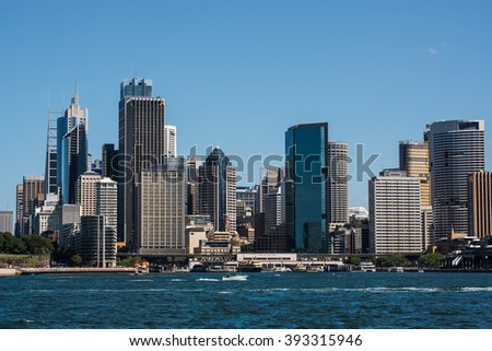 Sydney skyline shot from Kirribilli over the water