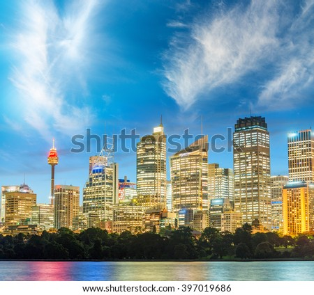 Sydney skyline with a beautiful sunset. - stock photo