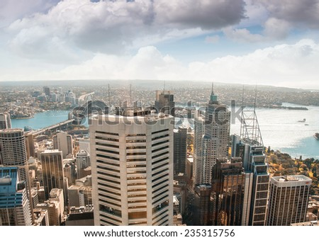Sydney skyscrapers and seascape. - stock photo