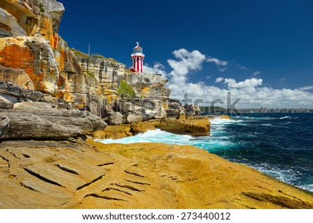 Sydney South Head  lighthouse. Beautiful seascape. Collection of the best lighthouses