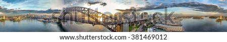 Sydney. Stunning aerial panoramic view of Harbour area at sunrise. - stock photo