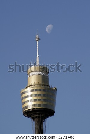 Sydney Tower And Moon, Tallest Building In The Southern Hemisphere, Australia