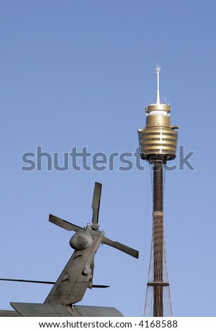 Sydney Tower And Rotor Of A Military Helicopter, Tallest Building In The Southern Hemisphere, Australia - stock photo