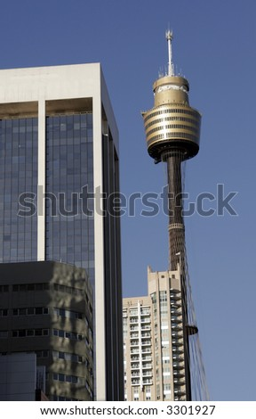 Sydney Tower Between Urban Houses, Tallest Building In The Southern Hemisphere, Australia - stock photo