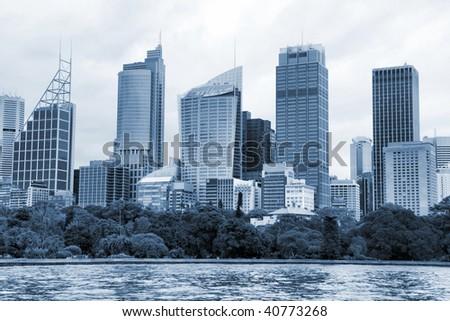 Sydney waterfront. Skyscrapers next to harbor. Modern city in Australia. - stock photo