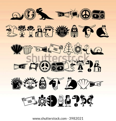 Symbol and animal signs in vector form