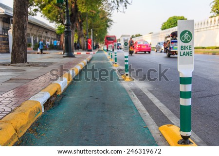 Symbol bike lane in bangkok thailand - stock photo