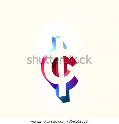 Symbol Cent Blue Pink Abstract Gradient Stock Illustration 756162838
