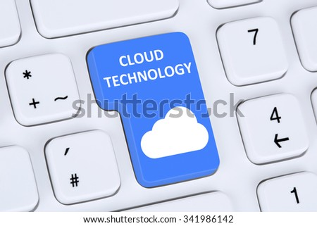 Symbol cloud computing technology storage on internet cyberspace computer keyboard