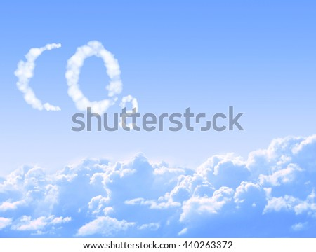 Symbol CO2 from clouds on blue sky background - stock photo