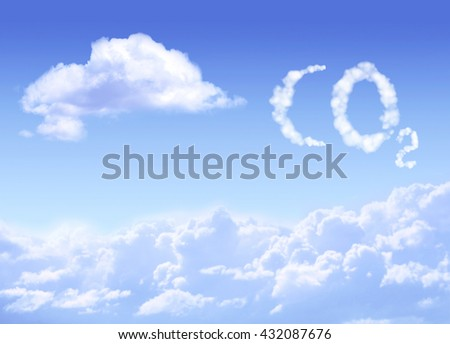 Symbol CO2 from clouds on blue sky backrgound - stock photo
