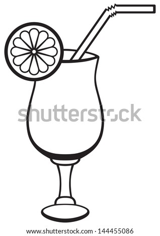 Symbol cocktail isolated on white. Raster version - stock photo