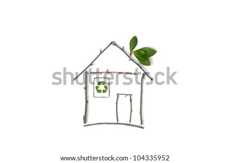 Symbol for green building and nature architecture - stock photo