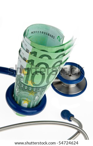 Symbol for health costs with ? and stethoscope - stock photo