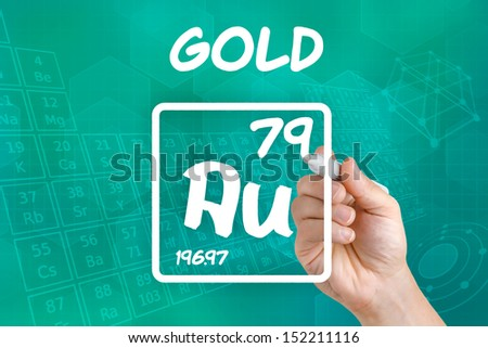 Symbol for the chemical element gold