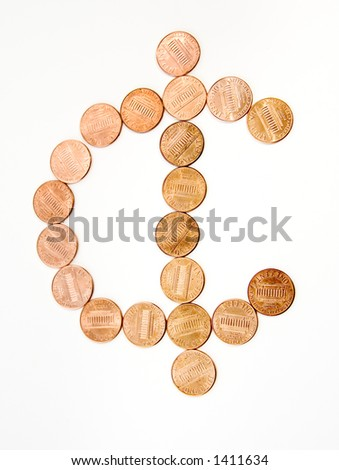 Symbol Usa Cent Formed By Onecent Stock Photo Royalty Free 1411634