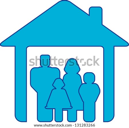 symbol happy family with people silhouette in blue house - stock photo