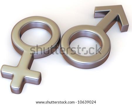 Symbol Men and Women. Love. 3d - stock photo