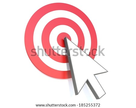 symbol of a computer mouse and the target - stock photo
