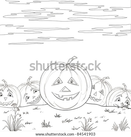 symbol of a holiday of Halloween: a pumpkins Jack O Lantern army, contours - stock photo