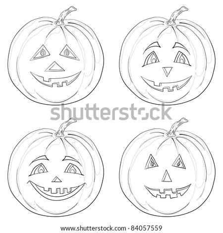 symbol of a holiday of Halloween: a pumpkins Jack O Lantern, monochrome contours - stock photo