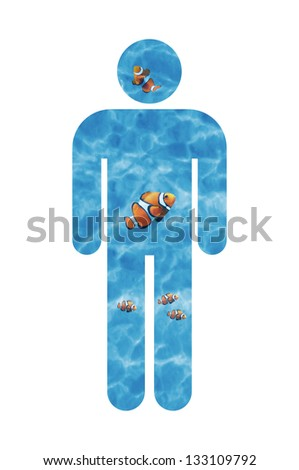 symbol of a man made of water with some inside clown fishes - stock photo