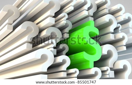 Symbol of American Dollar amongst question marks - stock photo