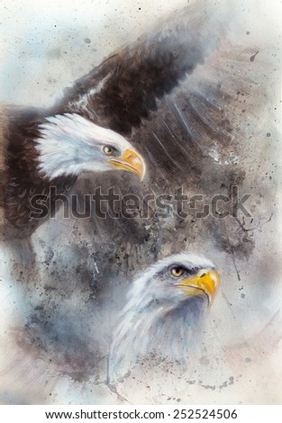 Symbol of American Freedom, wild bald eagle on abstract background eye contact - stock photo